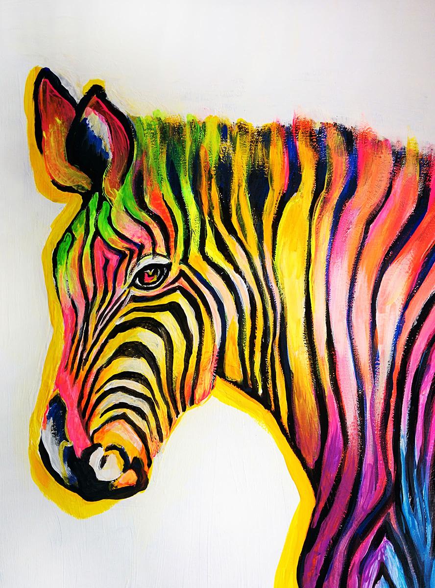 Zebra in Regenbogenfarbe