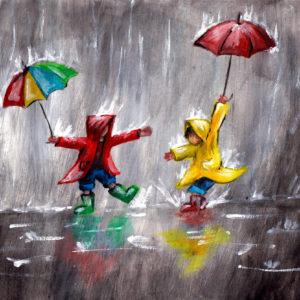 Anya-gyermek páros festés: Játék az esőben