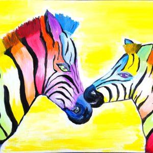 Zebrapuszi – Anya-gyermek páros festés