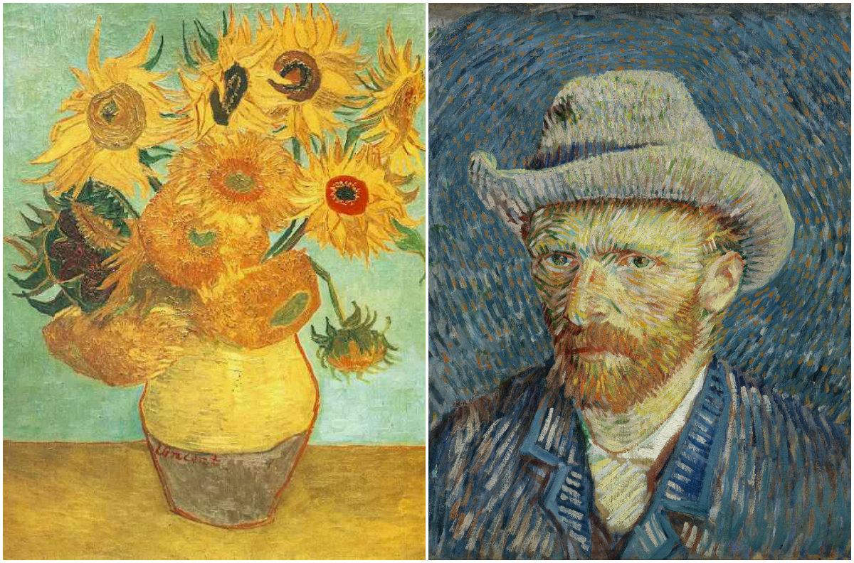 Narancssárga napraforgók, Van Gogh önarckép.