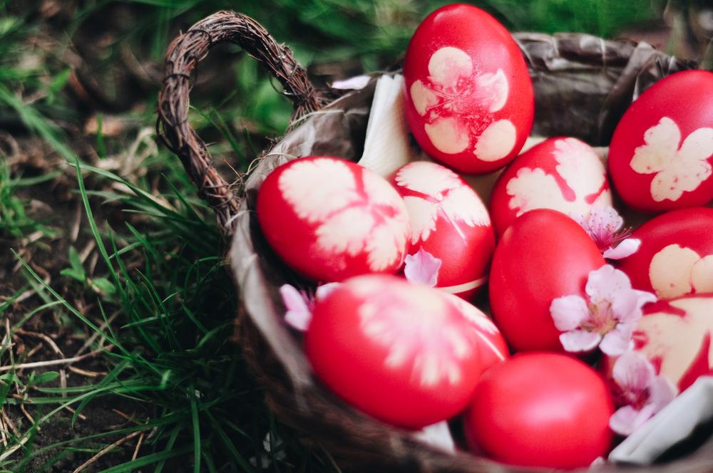 Piros húsvét tojás.