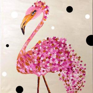 Anya-gyermek páros festés: Virágos flamingó – CSILLÁMOKKAL
